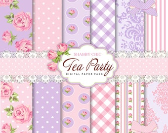 12 Shabby Chic Tea party Pink and Lilac Digital Scrapbook Papers, 4 Cliparts for Invites, Card Making, Digital Scrapbooking