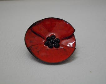 Enamels, poppy, creating Leszemaux brooch