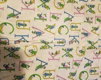"1970's Pink Alphabet Remnant Cotton Fabric 22"" x 44"""