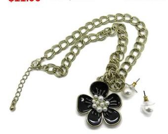 ON SALE! Anne Klein Necklace Earrings Set, Vintage Blue Enamel Flower Necklace Faux Pearl Pierced Stud Earrings