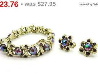 ON SALE! Longcraft Bracelet Set, Vintage Demi Parure, Rivoli Rhinestone Set, Screwback Earrings Set, Free Shipping