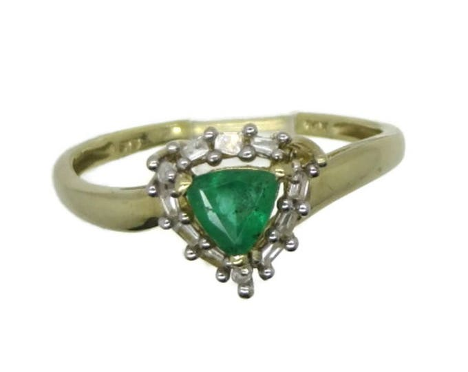 Vintage Colombian Emerald & Diamond Ring, 14K Gold Ring, May Birthstone, Trillion Cut Emerald Ring, Engagement Ring