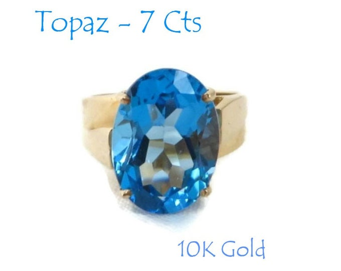 London Blue Topaz Ring - 10K Gold 7 Ct Topaz Solitaire Ring, Engagement Ring, Size 6, Perfect Gift