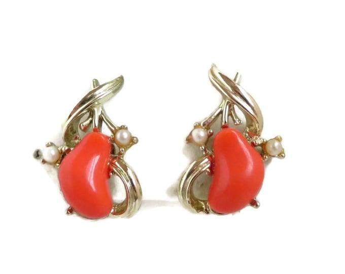 Vintage Coro Lucite Earrings - Orange Bead, Faux Pearl Screwback Earrings