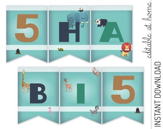 Zoo Birthday Banner INSTANT DOWNLOAD