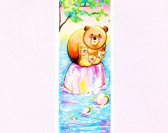 Bear illustration A7 Bookmark