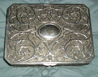Godinger silver plated jewelry box, Floral design, Ornate design, Jewelry box, Vintage jewelry box