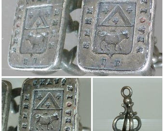 Victorian Intaglio Seal Fob Cow French Motto le devoir quand meme - Duty anyway + Gift Box