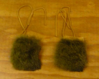 2 Green Rabbit Fur & Gold Color Deer Leather Bags