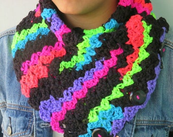 CROCHET COWL / Neon and Black Cowl / Bright colors crochet Cowl/ Triangle Cowl