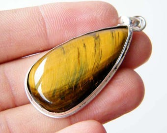 Tiger's Eye Pendant, Natural Gemstone Pendant, Silver Plated Pendant, Everyday Jewelry SH-4843