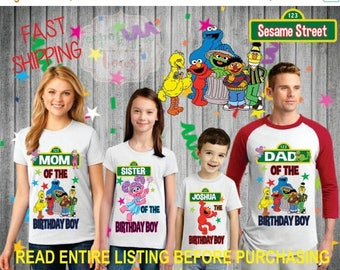 ON SALE 25% OFF Sesame Street Boy Birthday Shirts for the entire family Girl Dad Mom Brother Age Name Custom Theme Raglan T-shirt Oneise Lon