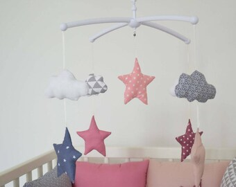 """Mobile musical baby 'Head in the stars' - clouds and stars pattern GraphiK """"Neo pink color"""