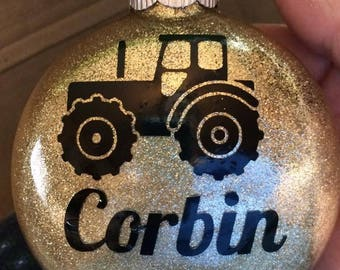 Personalized Christmas ornament with tractor