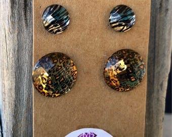 Zebra print charm leopard print,stud earrings striped charms animal charms nickle free earrings gold stud earrings silver earrings
