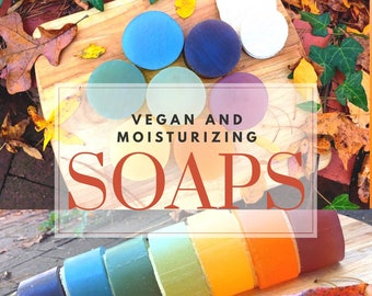 BAR SOAPS of pure PLANTS || lye and chemical-free || all skin types Sensitive Skin || Moisturizing for Daily Use - Face, Body, Hair || Vegan