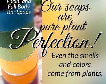 BAR SOAP Set of 6 || made of pure PLANTS || free of synthetics || safe for Sensitive Skin || Moisturizing || Face, Body, & Hair || Vegan