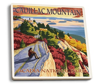 Acadia Park, ME - Cadillac Mountain - LP Artwork (Set of 4 Ceramic Coasters)
