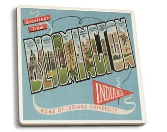 Bloomington IN U Large Letter Vintage Halftone (Set of 4 Ceramic Coasters)