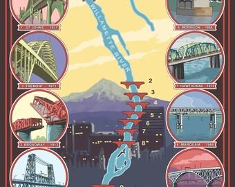 Portland, Oregon - Bridges of Portland - Lantern Press Artwork (Art Print - Multiple Sizes Available)