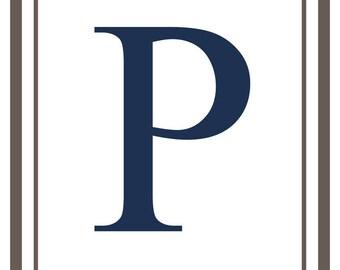 Monogram - Estate - Gray & Blue - P (Art Print - Multiple Sizes Available)