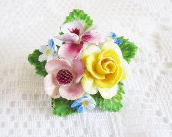 Vintage Denton China Flower Brooch, Hand Modelled and Hand Painted Floral Pin