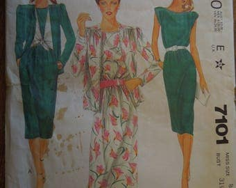 """McCalls 7101, size 8, bust 31 1/2"""", pullover dress, unlined jacket, UNCUT sewing pattern,"""