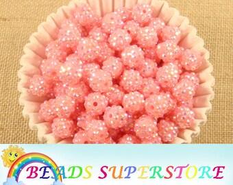 SALE 12 mm Deep Pink AB Rhinestone Chunky Bubblegum Round Bead - Gumball Bead - Acrylic Chunky Bead (12R11)