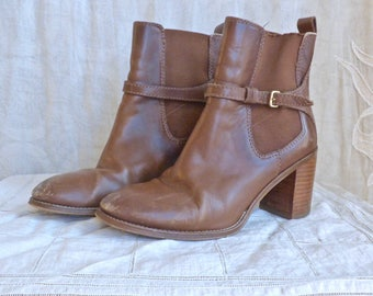Brown Leather Stacked Heel Chelsea Boots size 38