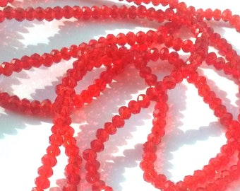 30 round faceted Red Crystal beads 4mm