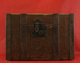 19th. Century  Painted Wood and Metal Strong Box