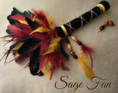 Burgundy and Gold Sage Smudge Feather Fan for Clearing the Energy Body and your Personal Space