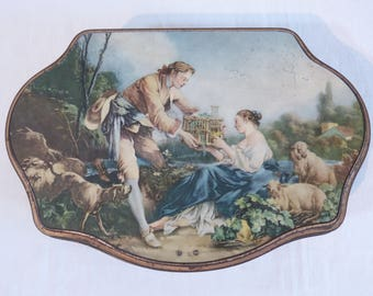 La cage by Fragonard ALSA advertising metal tin storage box - classic romantic lovers couple - French 50s vintage