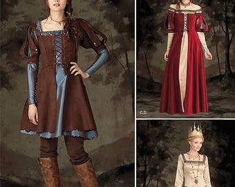 Simplicity 1773, Misses Medieval Fantasy Costume, Queen Maiden, Medieval Renaissance, Dress Huntress Princess , Medieval Royalty