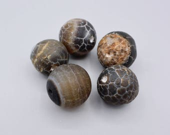 Dragon veins Agate Beads - Round Beads - brown & black Agate Beads -  rustic Beads - Druzy Beads - 18mm - 5 Beads (1)