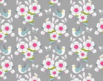 Meadow Blossom Birds Butterfly Scenic Grey 89770 - Nutex Patchwork Quilting Fabric