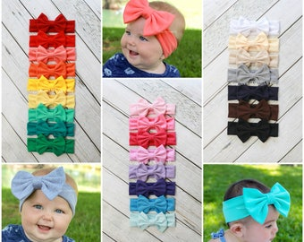 Baby head wrap, baby bow headbands, 24 colors, 1st birthday, infant headbands, big bows, baby girl headband, pink bow, halloween headband