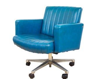 Teal Leather Swivel Armchair Desk Chair Retro G Plan Eames Era