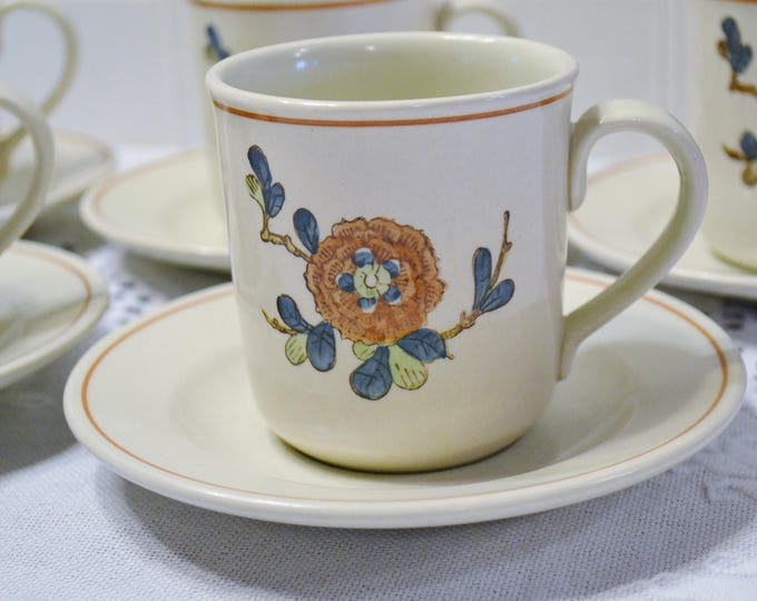 Vintage Metlox Old Cathay Cup and Saucer Set of 5 Vernon Ware Floral Retro Kitchenware Asian Theme California Pottery PanchosPorch