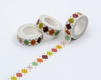 Argyle Pattern Washi Tape-Crafting Tape/Fall Colors/Autumn/Scrapbooking/card making/ paper craft/Kawaii/Journal/Gift Wrap/Supplies/Harvest/