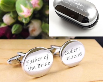 Mens Personalised Father of the Bride Wedding Day Custom Engraved Cufflinks - Oval Shape - Personalised Engraved Gift Box Available