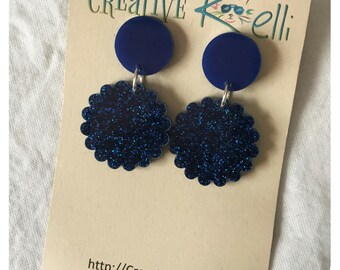 Acrylic Earrings, Glitter Flower