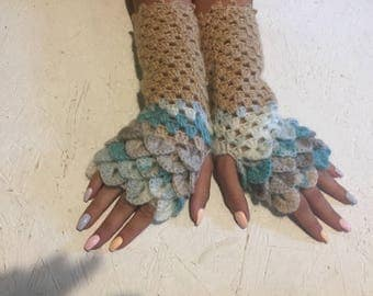 Fingerless Gloves, new ! Crocheted Arm Warmers dragon scales crochet gloves  crochet women's gloves women's Arm Warmers dragon scales gloves
