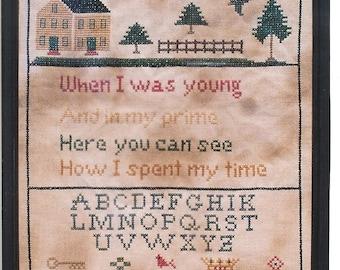 Primitive cross stitch, sampler chart/pattern,primitive needlework, schoolgirl sampler, early American , Sarah Hull