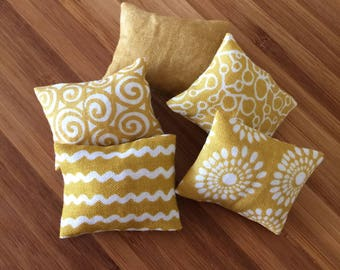 Miniature doll house 12th scale modern rectangular sofa or scatter cushions x 4 scandi collection
