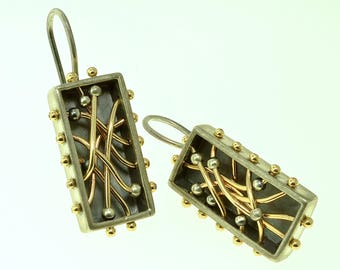 Abacus Earrings Sterling Silver and 14K Gold