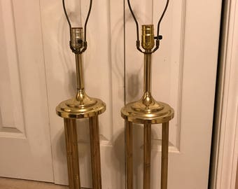 Retro vintage faux bamboo brass table lamps - a pair