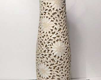 Stunning MCM pottery lamp with rosewwood base and top pierced