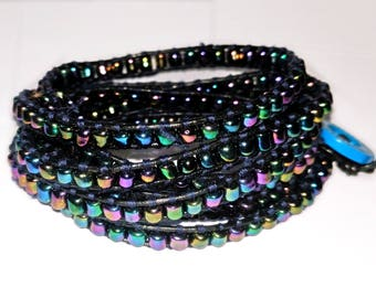 Chan Luu style, boho multi coloured wrap bracelet. Metallic rainbow seed bead cuff bracelet. Colourful and quirky boho biker beaded bracelet