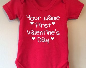 Firsts Valentine's Day - baby/body/vest/bodysuit - personalised with your babies name